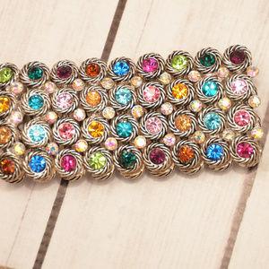 vintage ab rhinestone colorful wide bracelet